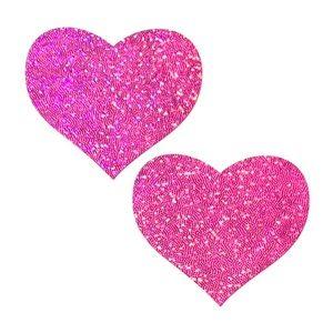 Pastease Pink Glitter Heart Nipple Pasties